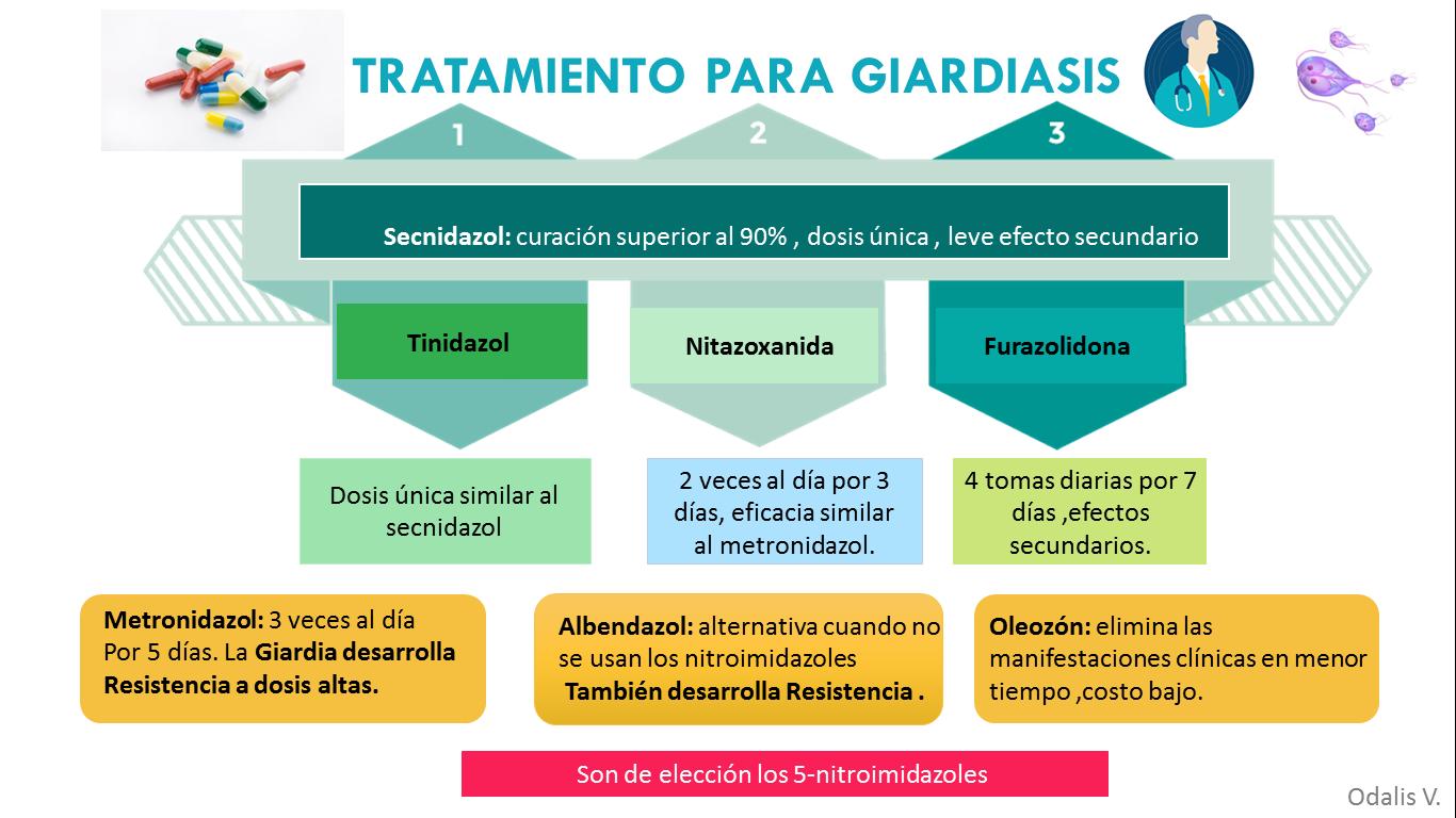 giardiasis kezelése felnőttekben)